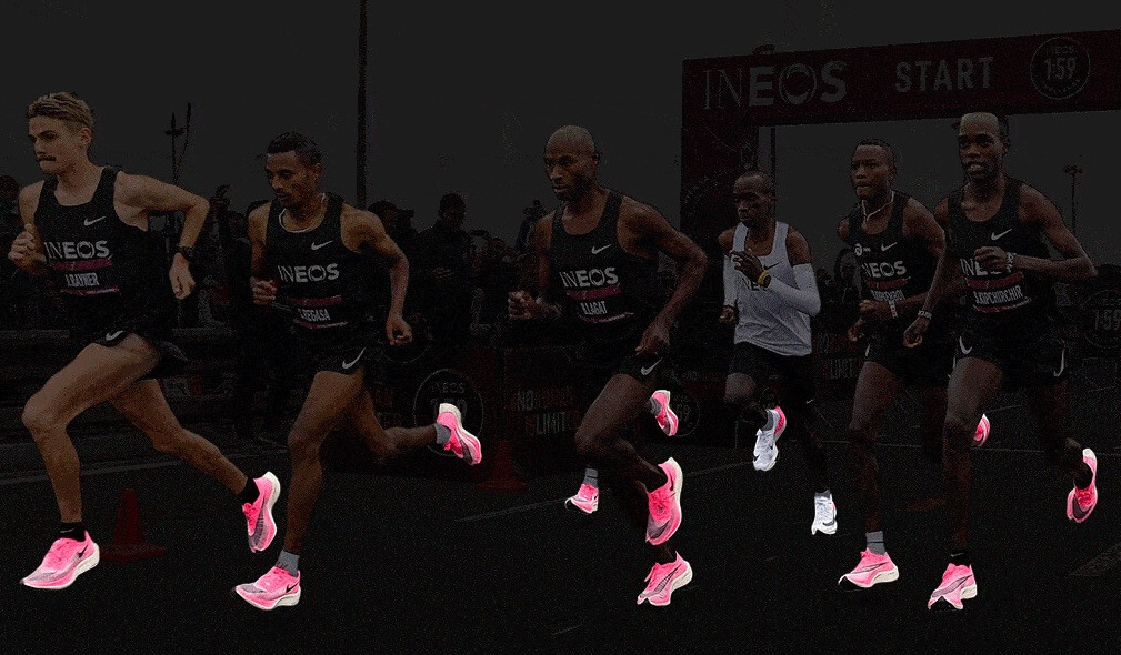Male Marathoners running in the Nike Vaporfly 4% Pink shoes